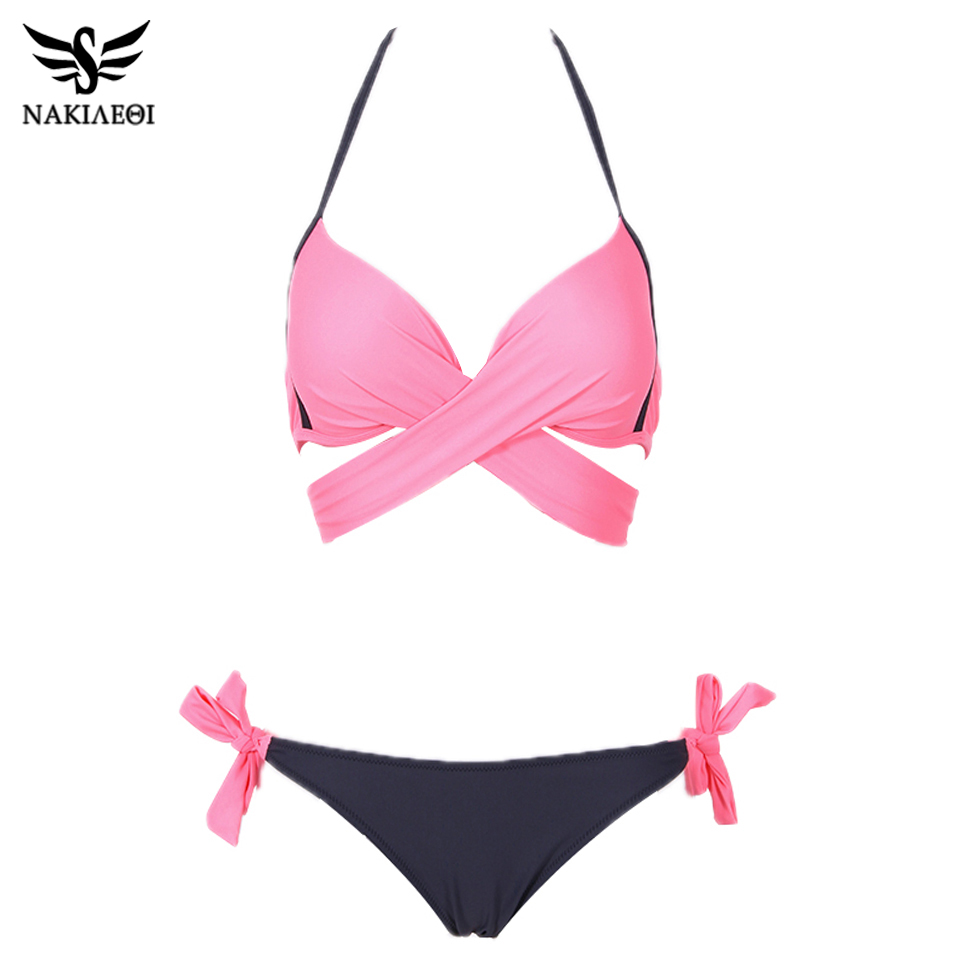 NAKIAEOI 19 Sexy Bikini Women Swimsuit Push Up Swimwear Criss Cross Bandage Halter Bikini Set Beach Bathing Suit Swim Wear XXL 11