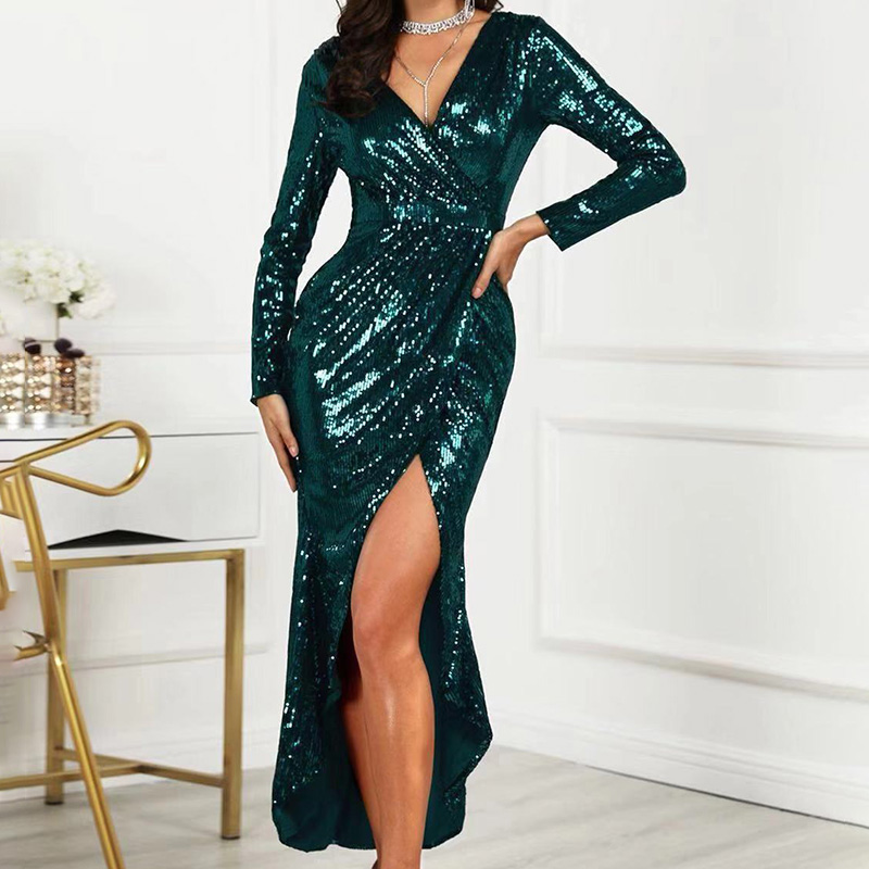 Sexy V-neck Party Shiny Dress Women High Slit Peplum Bodycon Dress Autumn Long Sleeve Bright Sequined Dress For Party Dress Платье
