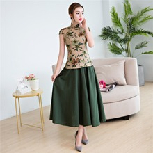 Shanghai Story Short Sleeve Chinese cheongsam top traditional Chinese Top Women's Floral blouse top + Linen Skirt