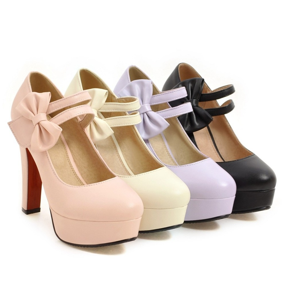 MORAZORA Fashion sweet high heels shoes 12cm shallow women pumps wedding shoes big size 34-47 platform shoes bowtie 10