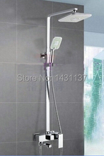 "Special 8"" NEW Chrome Brass Water Pressure Boosting Bathroom Rain Shower Mixer Tub  Faucet Shower Set"