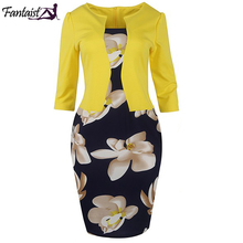 Fantaist Women Fall One Piece Patchwork Floral Print Elegant Business Party Formal Office Plus Size Bodycon Pencil Work Dresses(China)