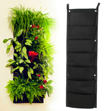Novelty 7 Pockets Vertical Garden Planter Wall-mounted Polyester Home Gardening Flower Planting Bags Living Indoor Wall Planter(China)