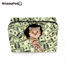 WHOSEPET Cute Cat Printing Cosmetic Bag Women Makeup Bags Zipper Green Fashion Girls Travel Storage Case Bag Make Up Organizer