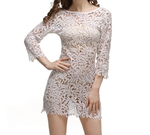 ach Women dress O-Neck Hollow Out 157 Sexy Crochet Nine Points Sleeve Bikini Smock Dresses   White 5840