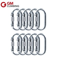 10pcs/lot Steel Screw Gate Locking Carabiner Hook 22KN Oval Shape Hiking Climbing Carabiner(China)