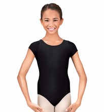 Short Sleeve Classic Girls Gymnastics Leotard For Toddlers Black Ballet Dance Leotard Lycra Dancewear Spandex Kids Leotard 3t(China)