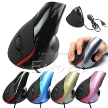 Ergonomic Design USB Vertical Optical Mouse Wrist Healing For Computer PC Laptop Z07 Drop ship(China)