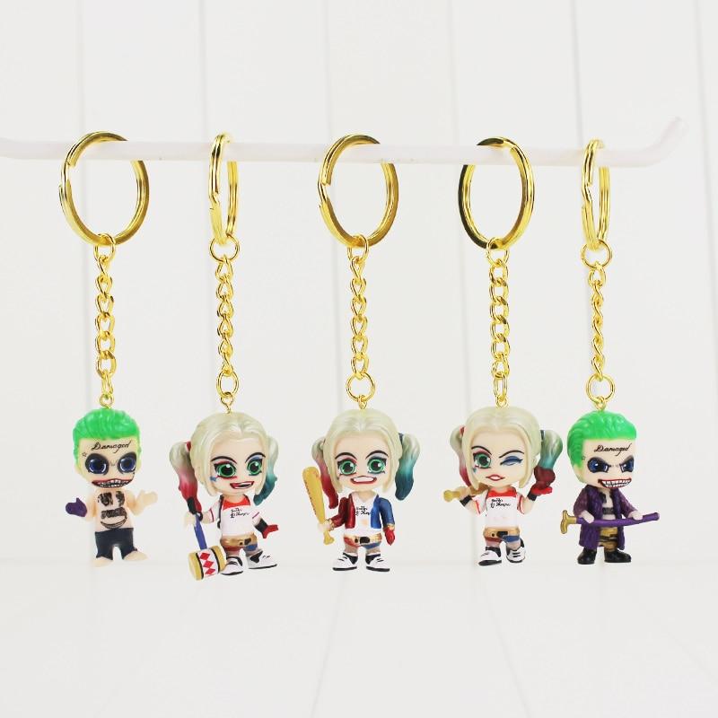 5 Pcs//Set Suicide Squad The Joker Harley Quinn PVC Figure Key Chain Model Toy