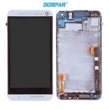 Black Silver For HTC One M7 LCD Display with Frame Bezel touch screen digitizer Full Assembly, free shipping+tracking number