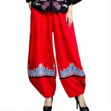 Red Chinese Lady Wide Leg Pants Casual Embroidery Pockets Full Length Trousers Ethnic Cotton Linen Flower Pant Size L-XL(China)