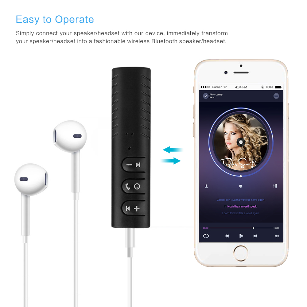 Bluetooth Earphone HandsFree Wireless Bluetooth Receiver Adapter 3.5mm Jack Car Aux Audio Music for Phones Speakers Headphones (5)