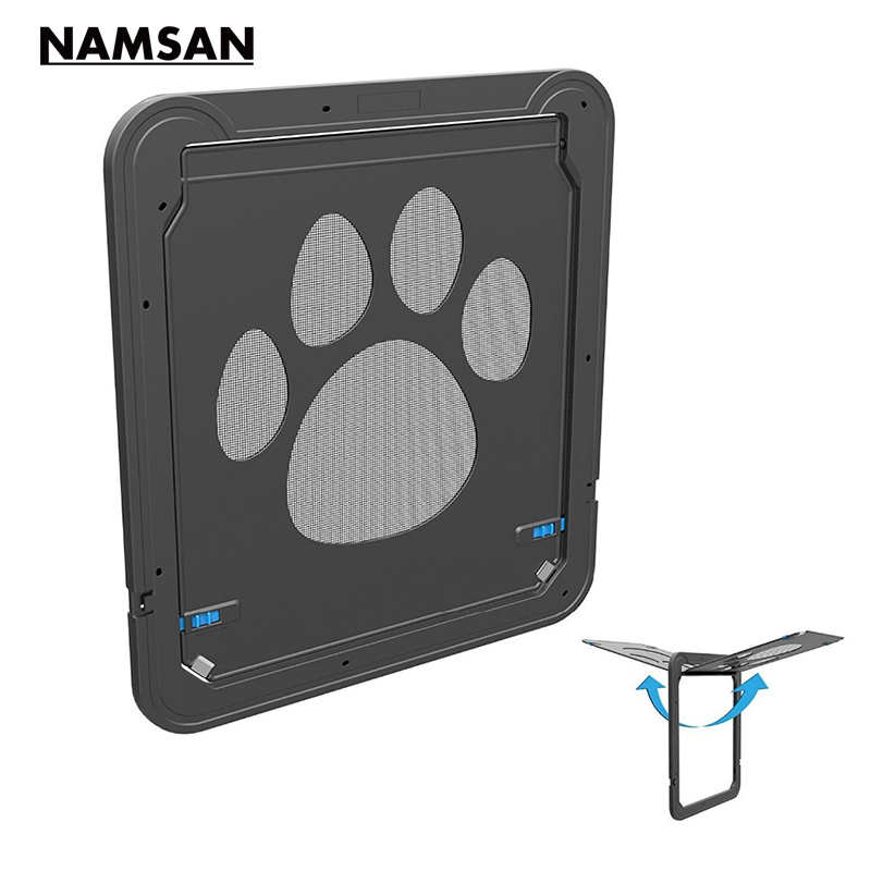 Namsan Pet Screen Door Magnetic Dog Door,Automatic Lock/Lockable Cat Door Kitten Magnetic Lockable Door Kitty safe Flap Gate(China)