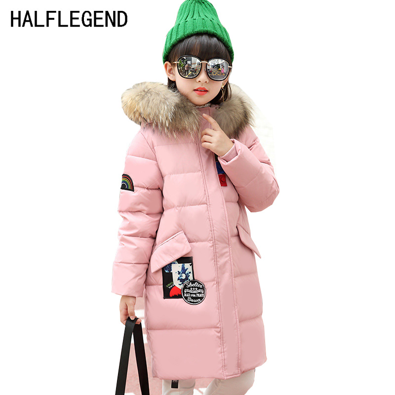 HALFLEGEND 2017 New Kids Girls Parka Winter Duck Down Coat Children Warm Outerwear Long Thickening Down Parkas 7-10 11 12 YearsÎäåæäà è àêñåññóàðû<br><br>