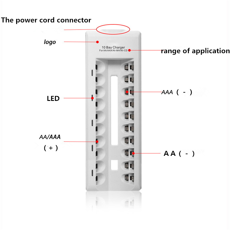 10 Ports AA AAA Battery Charger LED Indicator Nimh Nicd Rechargeable Intelligent Batteries Chargers(China (Mainland))