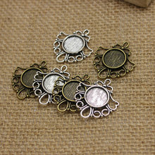 30pcs Antique Bronze Metal Cameo Flowers Filigree 26*29mm (Fit 12mm) Round Cabochon Pendant Setting Jewelry Blank Findings T0220(China)