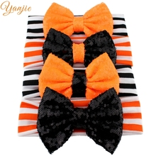 1PC 2017 Halloween Headband For Girls Solid Bow Elastic Hairband Hair Accessories Kids Flowers Halloween Hair Bands Headwear(China)