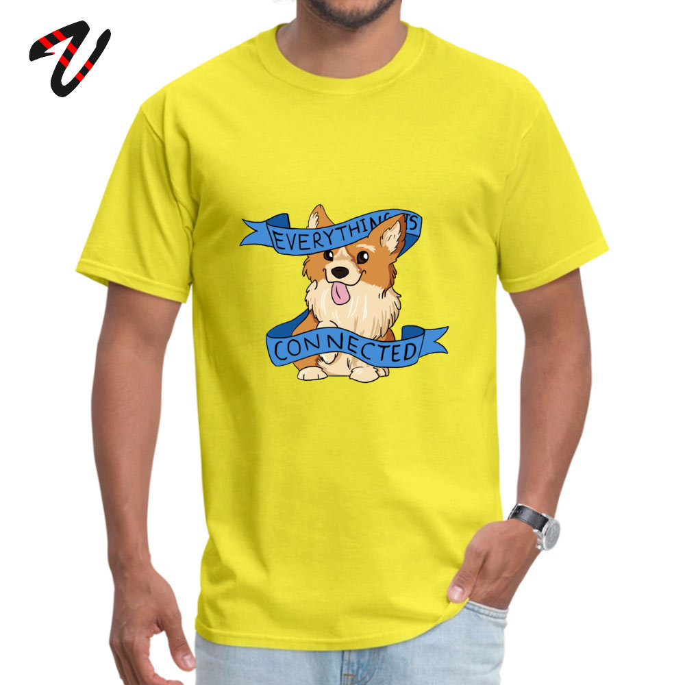 Oversized Everything is Connected Corgi Top T-shirts Fall Round Collar 100% Cotton Tops Shirts for Men Tee Shirts Casual Everything is Connected Corgi 11572 yellow