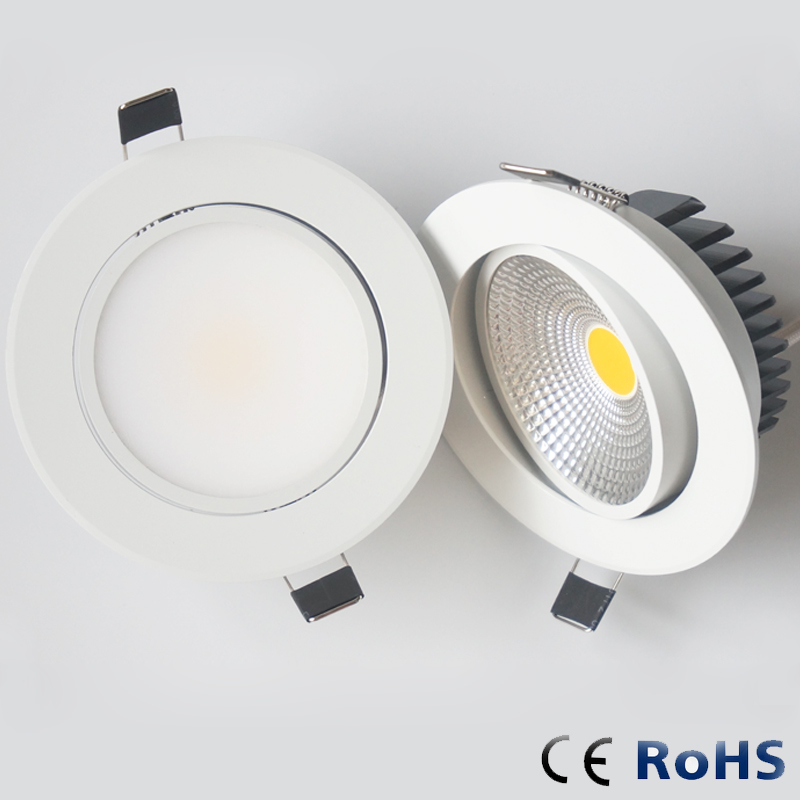 6w 9w 12w HKOSM Led Downlight White Body dimmable spot cob 110v 220v Lighting Fixtures Recessed Down Lights Indoor Light(China)