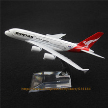16cm Alloy Metal Air Australian Qantas Airlines Airbus 380 A380 Plane Model Aircraft Airplane Model w Stand Crafts Gift(China)
