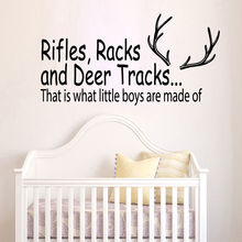 57X30cm Wall Decal Quote Rifles Racks and Deer Tracks Hunting Vinyl Sticker Boys Nursery Decor Art Kids Room Decor Mural YO-172