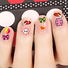 different cartoon styles children and adults decals small nail art adhesive stickers DIY nail art stickers makeup nial tools