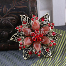 Vintage Brooches Ancient Gold-Color Resin Brooch Red Rhinestone Flower For Wedding Bridal Collar Clip Scarf Buckle Hijab Pins
