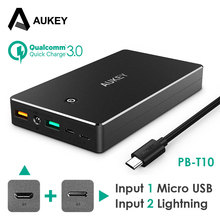 AUKEY Power Bank 20000mAh Portable External Battery Mobile Backup Charger Dual USB Powerbank for iPhone Smart Phone Galaxy S8 LG(China)