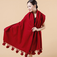 women winter scarf shawl thick large size cape pure color popular wrap 9 colors high quality low price lady muffle weeding shawl(China)
