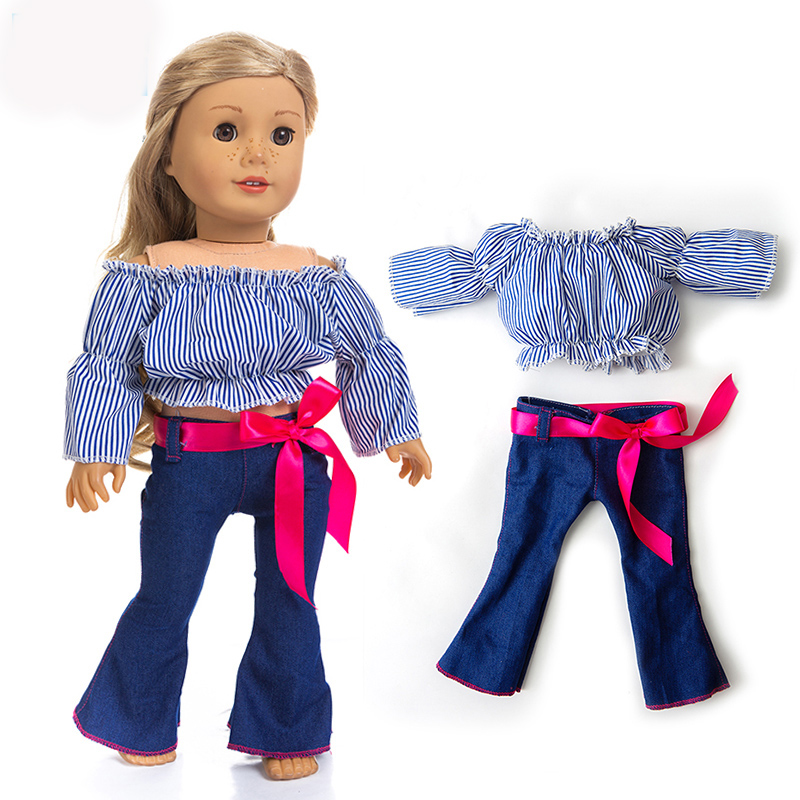 """Black /& Teal Striped Sweater fit 18/"""" American Girl Doll"""