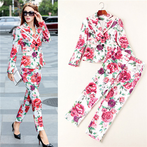 Designer Autumn Suit Women's High Quality Long Sleeve 3D Floral Printed Casual Blazer + Pant Suit Clothing Set Twinset Jackets