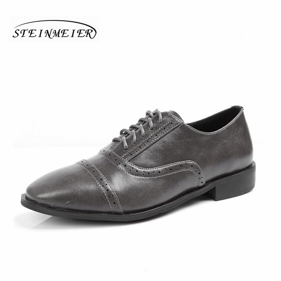 Women natrual leather oxford shoes handmade lace vintage designer flat square toe brogue sneakers comfortable shoes for woman <br>