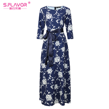 2017 Autumn Winter women bottom dress S.FLAVOR printing O-neck Elegant vestidos for female goood quality casual long dress(China)