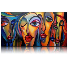 Big eyes girls canvas art Handmade Picasso style oil painting modern abstract woman figures wall pictures for living room decor(China)