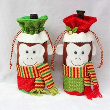 NEW!!!Christmas Monkey Red Wine Champagne Bottle Covers Bag For New Year Christmas Decorations Ornament