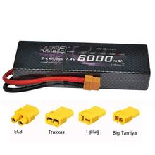 HRB RC Lipo Battery 2S 7.4V 6000mAh 60C 120C Hard Case for 1/10 Scale Traxxas Car Deans XT60 EC3 Tamiya Traxxas Connector(China)