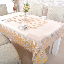 European bronzing PVC table cloth hollow circular waterproof anti-rust oil-free table cloth(China)
