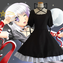 Free shipping Anime Hot Rewrite Harvest festa! cosplay Kanbe Kotori cos Black dress princess full set Dress+bow+red ribbon