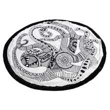 Octopus Printed Round Beach Towel 150cm Art Polyester Polyamide With Tassels Fiber Black White For Holiday Home Textile