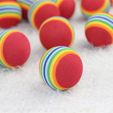 Funny Rainbow Toy Ball For Small Dog Cat Pet EVA Toys Golf Practice Balls Diameter 35mm Pet Product