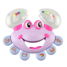 New Plastic Crab Toy Jingle Baby Kid Musical Educational Shaking Rattle Handbell