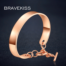 BRAVEKISSretro metal hand cuff bangle charm bar anchor bracelet chain women rose gold color big wristband pulseras mujer BUB0096