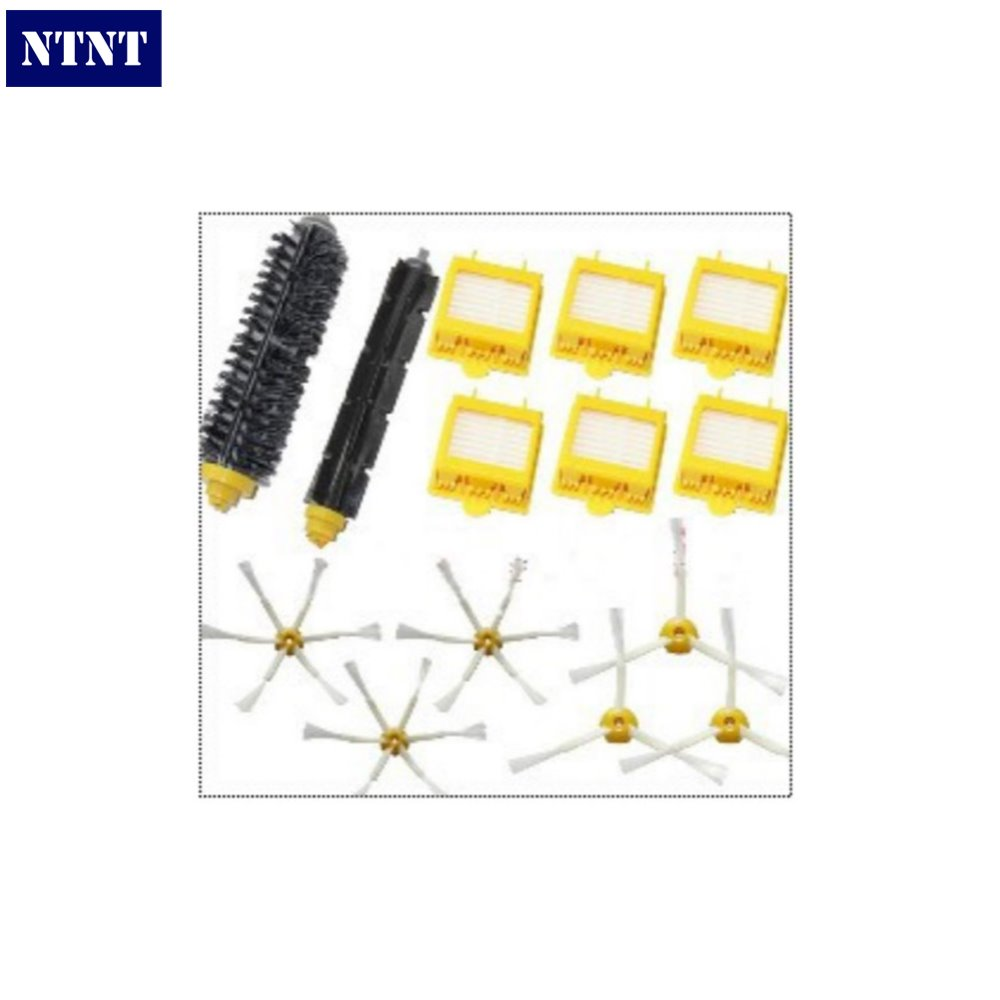 NTNT 6 Hepa Filter+Flexible Beater Bristle Brush kit+6 side brush kit for iRobot Roomba 700 Series 780 790 aspirador accessory<br>