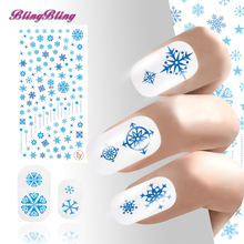 2PCS Ultrathin Adhesive Christmas Nail Art Sticker Decals 3D Blue Snowflake Pattern Nail Wraps Instant Manicure Accessories(China)