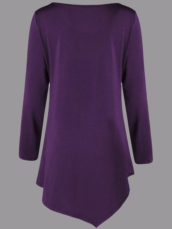 VESTLINDA Plus Size Two Tone Asymmetric Tunic Tee Shirt Women Fashion O Neck Long Sleeves Casual Long T-Shirt Ladies Tops 5XL 12