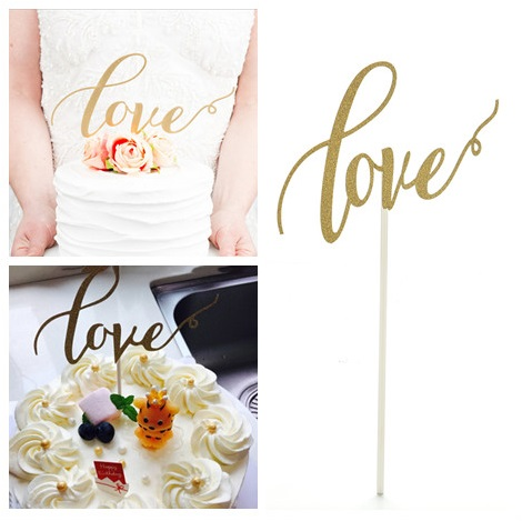 New Sparkle Glitter Gold LOVE Cake Topper Fashion Love Cupcake Decorating Topper For Wedding Engagement Party Cake Decor