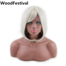 silver gray auburn reddish brown wig synthetic hair womens wigs length: short straight bob wig heat resistant WoodFestival(China)