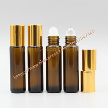 10ml brown/amber glass bottle with glass/stainless roller+shiny gold aluminum(smooth) lid,roll-on/oil/perfume/deodorant bottle
