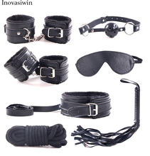 Buy Sex Products 7 Pcs/Set BDSM Bondage Set Leather Fetish Adult Games Sex Toys Couples Slave Game SM Product Collar Eye Mask