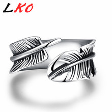 LKO Mens Pinky Rings Simple Vintage Feather Open Biker Ring 316L Stainless Steel Silver Plated Jewelry for Party Male Gifts